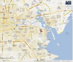 Аэропорт в Ла Порте и Хьюстон на карте.